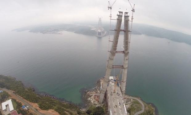 Yavuz Sultan Selim ismi verilecek olan 3. Boğaz köprüsü ve Kuzey Marmara Otoyolu projesinde kule inşaatlarının tamamlanmasıyla geçtiğimiz ay iki yakayı ilk defa birbirine bağlayacak kılavuz halatın döşenmesine işlemine başlanmıştı. Yapılan çalışmaların ardından kedi yolu ve ana kablonun yapımında kullanılacak kılavuz halatının çekim işlemi tamamlandı. Köprü kulelerinin zirvelerinde ise ana kablo ve kedi yolu yapımı için kullanılacak olan tertibatların kurulumu çalışmalarının ise hızla devam ettiği öğrenildi.