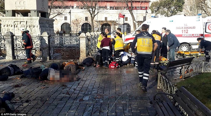 Terrifying moment ISIS suicide bomber exploded in centre of Istanbul and killed 10 German tourists after entering Turkey from Syria