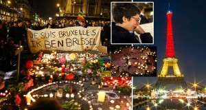 A world united in grief: Brussels residents hold sombre candle-lit vigils around floral tributes as famous landmarks around the globe are lit up with colours of Belgian flag