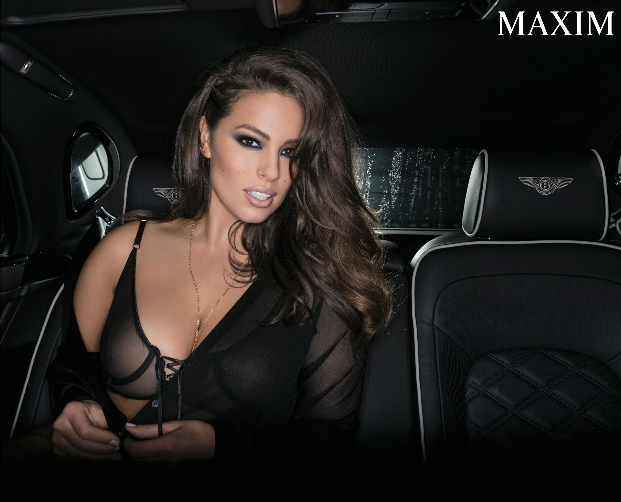 Ashley Graham is showing off her pin-up worthy curves as she strips down to next-to-nothing for the cover of Maxim.