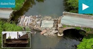 Drone captures collapsed 18th century Eastham Bridge