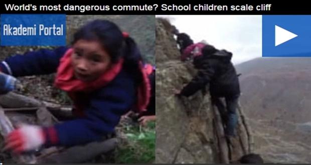 """""""World's most dangerous commute? School children scale cliff"""""""