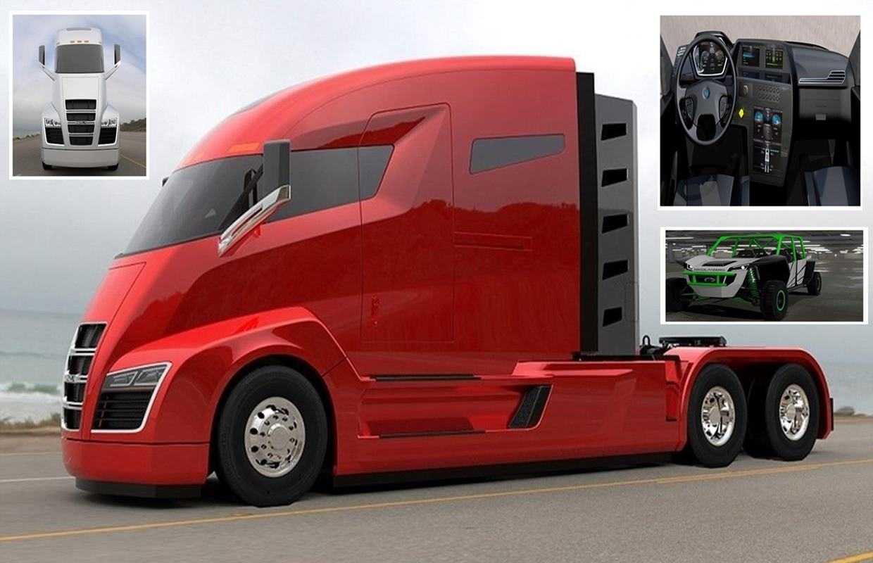 The Tesla truck world Hybrid electric natural gas cab pull 80 000 pounds 1 200 miles stops