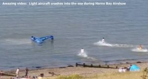 Amazing video: Light aircraft crashes into the sea during Herne Bay Airshow