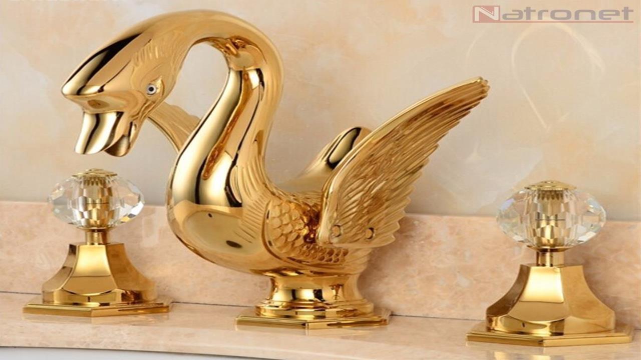 Özel tasarım altın kaplama kuğu musluklar-bataryalar