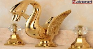 Altın kaplama lüks özel tasarım kuğu musluklar