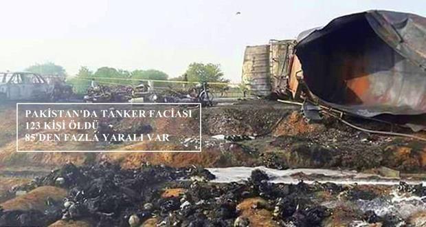 Pakistan'da devrilen tankerin alev alması üzerine en az 123 kişi öldü