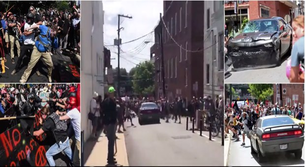Car SMASHES into crowd of counter-protesters in Charlottesville video