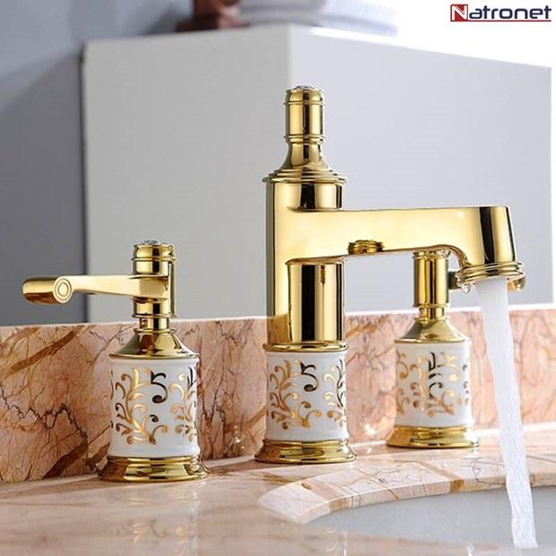 Altın Kaplama Lüks Banyo ve Havza Musluklar Bataryalar