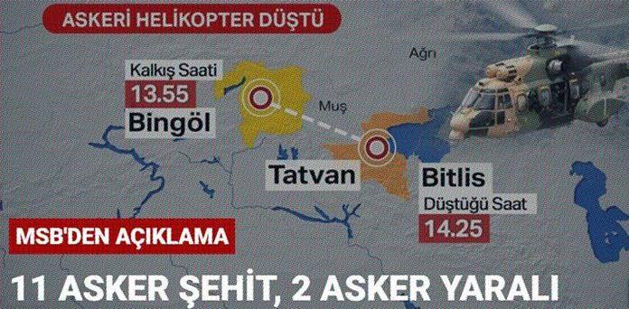 Tatvan'da Askeri Helikopter Düştü 11 Asker hayatını kaybetti