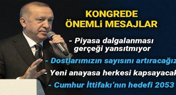 Erdoğan: Türkiye'yi önce 2023 hedeflerine ardından da 2053 vizyonuna Cumhur İttifakı'yla kavuşturacağız