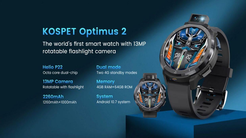 KOSPET Optimus2 Akıllı Saat 4G 64G Sekiz Çekirdekli 4G 2260 mAh Pil