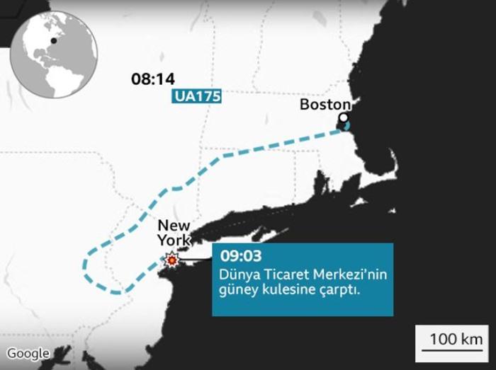 11 Eylül 2001 Salı günü, saldırganlar Amerikan yolcu uçaklarını kaçırmış ve New York'taki iki gökdelene çarparak binlerce kişinin ölümüne neden olmuştu.