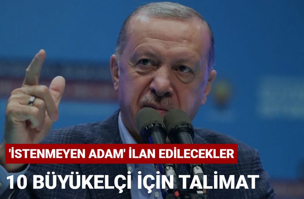 Cumhurbaşkanı Erdoğan'dan 10 büyükelçi için 'istenmeyen adam' talimatı